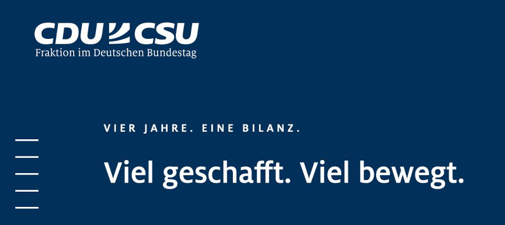 CDU/CSU Fraktion. Vier Jahre, eine Bilanz. Viel geschafft. Viel bewegt.